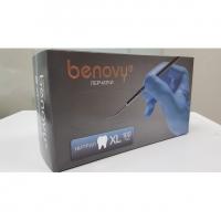 Перчатки нитриловые Dental Formula MultiColor - Benovy - текстурированные на пальцах, размер XL, 4гр., 100 пар, цвет голубой