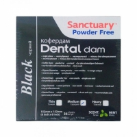 Sanctuary Black Latex Dental dam, листы для коффердама (средние, 152мм*152мм) латексные черные, 36 шт.
