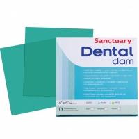 Sanctuary Latex Dental dam (мята), листы для коффердама (средние, 152мм*152мм) латексные зеленые, 36 шт.
