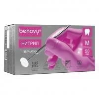 Перчатки нитриловые Dental Formula MultiColor - Benovy - текстурированные на пальцах, размер 7-8 M, 4гр., 50 пар, цвет розовый