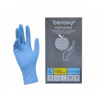 BENOVY Nitrile Chlorinated, перчатки нитриловые, текстурированные, голубые, L, 100 пар